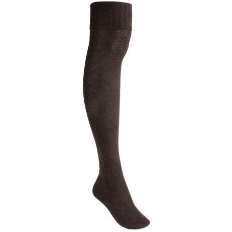 Pantherella Cable Socks - Merino Wool, Over-the-Knee (For Women) in Dark Brown Mix