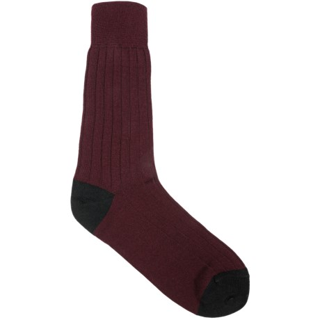 Pantherella Casual Crew Socks - Merino Wool Blend (For Men) in Maroon/Black