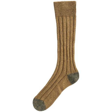 Pantherella Country Cotton Melange Socks - Crew (For Men) in Ochre/Charcoal