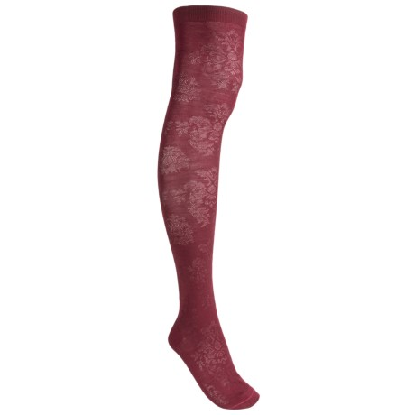 Pantherella Damask Socks - Wool Blend, Over-the-Calf (For Women) in Dark Purple