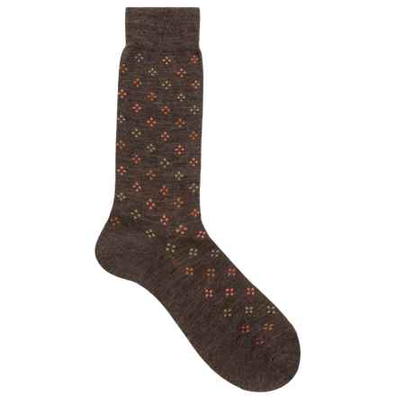 Pantherella Darsham Diamond Socks - Merino Wool, Crew (For Men) in Dark Brown Mix - Closeouts