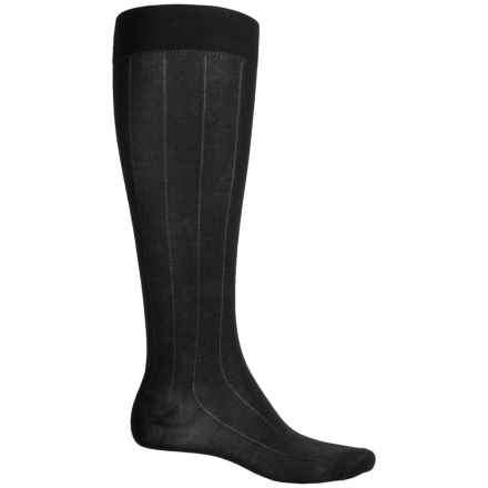Pantherella Egyptian Cotton Dress Socks - Over the Calf (For Men) in Black Ribbed - Closeouts