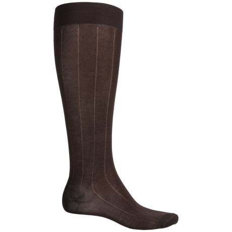 Pantherella Egyptian Cotton Dress Socks - Over the Calf (For Men) in Dark Brown