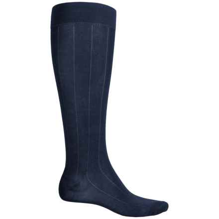 Pantherella Egyptian Cotton Dress Socks - Over the Calf (For Men) in Navy Ribbed - Closeouts
