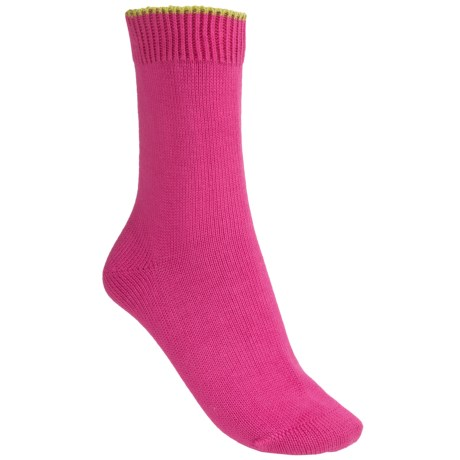 Pantherella Flat-Knit Socks - Cotton Blend, Crew (For Women) in Goldcrest