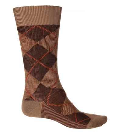 Pantherella Jacquard Argyle Socks - Merino Wool, Crew (For Men) in Dark Camel/Chocolate - Closeouts