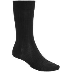 Pantherella Merino Wool Blend Socks - Mid Calf (For Men) in Dark Grey