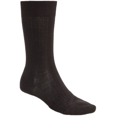 Pantherella Merino Wool Blend Socks - Mid-Calf (For Men) in Dark Brown