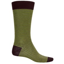 Pantherella Micro-Stripe Cotton Socks - Over the Calf (For Men) in Chocolate/Green - Closeouts