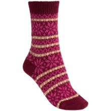 Pantherella Molly Nordic Fair Isle Socks - Cashmere, Crew (For Women) in Port - Closeouts