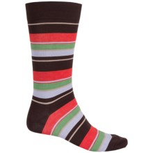 Pantherella Multi Wide-Stripe Knee-High Socks - Crewf (For Men) in Brown Multi - Closeouts