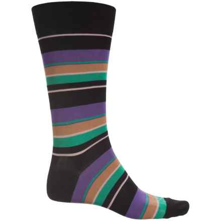 Pantherella Multi Wide-Stripe Socks - Over the Calf (For Men) in Black/Iris - Closeouts