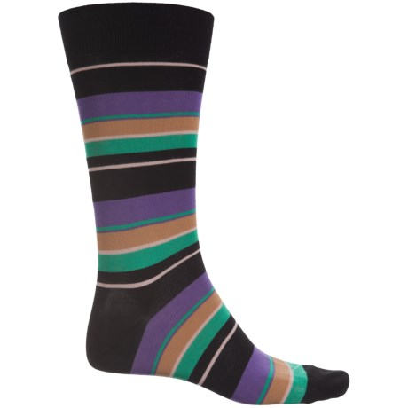Pantherella Multi Wide-Stripe Socks - Over the Calf (For Men) in Black/Iris
