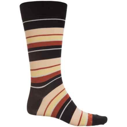Pantherella Multi Wide-Stripe Socks - Over the Calf (For Men) in Black/Soft Peach - Closeouts