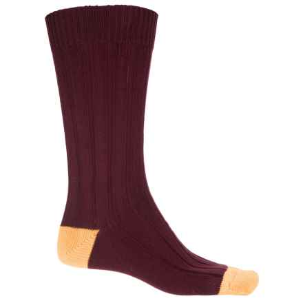 Pantherella Oxford Cotton-Blend Socks - Mid Calf (For Men) in Port - Closeouts