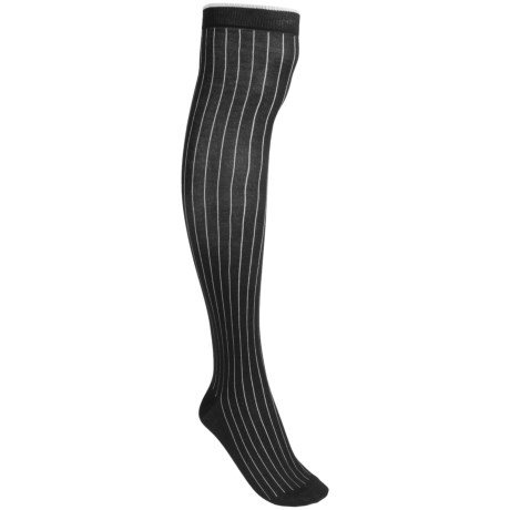 Pantherella Pinstripe Socks - Cotton Blend, Over-the-Knee (For Women) in Plum