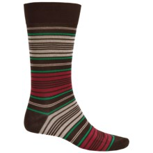 Pantherella Preppy Stripe Cotton Socks - Over the Calf (For Men) in Chocolate - Closeouts
