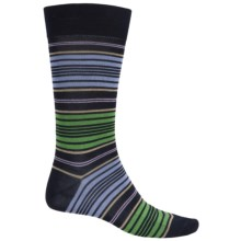Pantherella Preppy Stripe Cotton Socks - Over the Calf (For Men) in Navy/Green - Closeouts