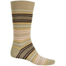 Pantherella Preppy Stripe Cotton Socks - Over the Calf (For Men) in Raffia - Closeouts