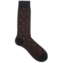 Pantherella Retro Elongated Diamond Socks - Lightweight, Crew (For Men) in Black/Orange - Closeouts
