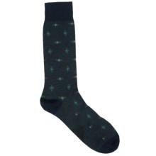 Pantherella Retro Elongated Diamond Socks - Lightweight, Crew (For Men) in Navy/Green - Closeouts