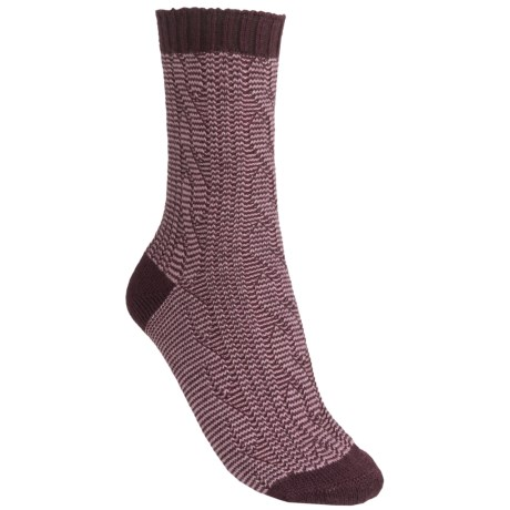 Pantherella Slouchy Cable Socks - Wool Blend, Crew (For Women) in Maroon/Old Rose