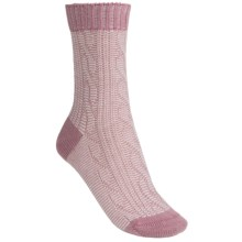 Pantherella Slouchy Cable Socks - Wool Blend, Crew (For Women) in Old Rose/Cream - Closeouts