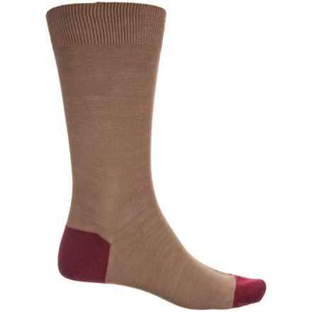 Pantherella Solid Contrast Socks - Merino Wool, Crew (For Men) in Camel/Wine - Closeouts