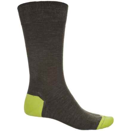 Pantherella Solid Contrast Socks - Merino Wool, Crew (For Men) in Dark Olive/Acid - Closeouts