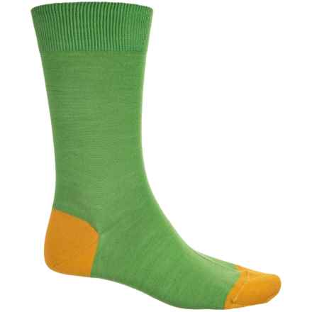 Pantherella Solid Contrast Socks - Merino Wool, Crew (For Men) in Green/Yellow - Closeouts