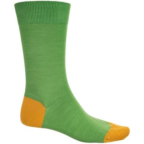 Pantherella Solid Contrast Socks - Merino Wool, Crew (For Men) in Green/Yellow