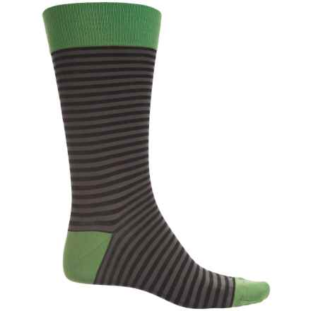 Pantherella Stripe Contrast Socks - Crew (For Men) in Black/Green - Closeouts