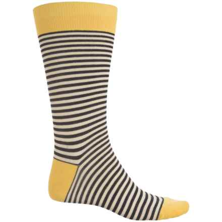 Pantherella Stripe Contrast Socks - Crew (For Men) in Black/Yellow - Closeouts