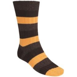 Pantherella Stripe Country Cotton Melange Socks - Crew (For Men) in Denim/Light Blue Grey
