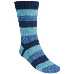 Pantherella Stripe Country Cotton Melange Socks - Crew (For Men) in Wine/Coral