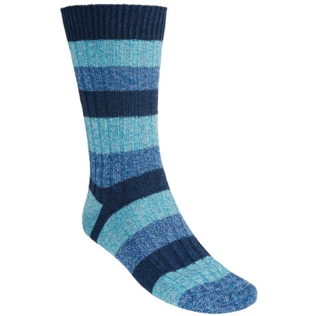 Pantherella Stripe Country Cotton Melange Socks - Crew (For Men) in Navy/Light Blue