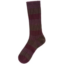 Pantherella Stripe Country Cotton Melange Socks - Crew (For Men) in Wine/Brown - Closeouts