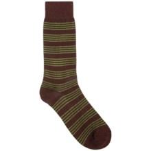 Pantherella Stripe Dress Socks - Mid-Calf (For Men) in Dark Brown/Clover - Closeouts