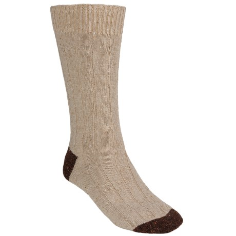 Pantherella Tweed Socks - Merino Wool, Crew (For Men) in Natural/Dark Brown