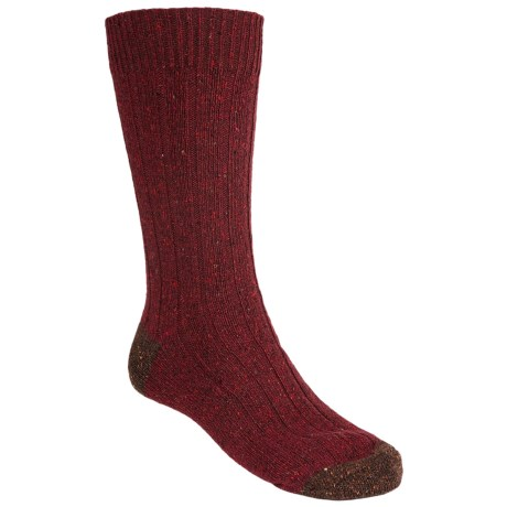 Pantherella Tweed Socks - Merino Wool, Crew (For Men) in Wine/Dark Brown