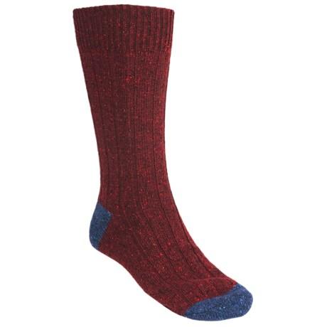 Pantherella Tweed Socks - Merino Wool, Crew (For Men) in Wine/Denim