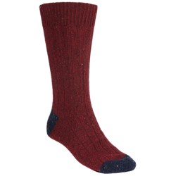 Pantherella Tweed Socks - Merino Wool, Crew (For Men) in Wine/Navy