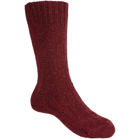 Pantherella Tweed Solid Cable Socks - Merino Wool, Crew (For Men) in Wine