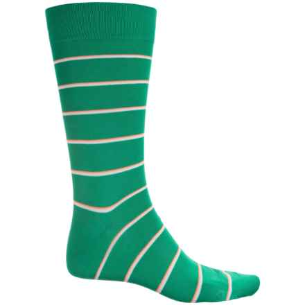 Pantherella Two-Color Bright Stripe Socks - Crew (For Men) in Emerald - Closeouts