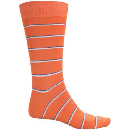 Pantherella Two-Color Bright Stripe Socks - Crew (For Men) in Papaya - Closeouts