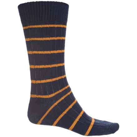 Pantherella Two-Color Spaced Stripe Socks - Wool, Crew (For Men) in Navy - Closeouts