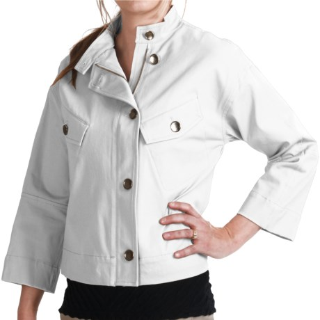 Paperwhite Asymmetrical Crop Jacket - Stretch Cotton, 3/4 Sleeve (For Women) in Taupe