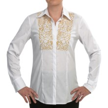 Paperwhite Beaded Bib Shirt - Long Sleeve (For Women) in White - Closeouts