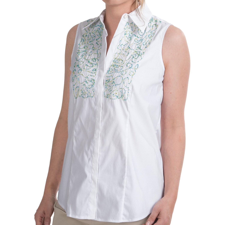 Paperwhite Beaded Bib Shirt Sleeveless For Women