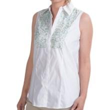 Paperwhite Beaded Bib Shirt - Sleeveless (For Women) in White - Closeouts